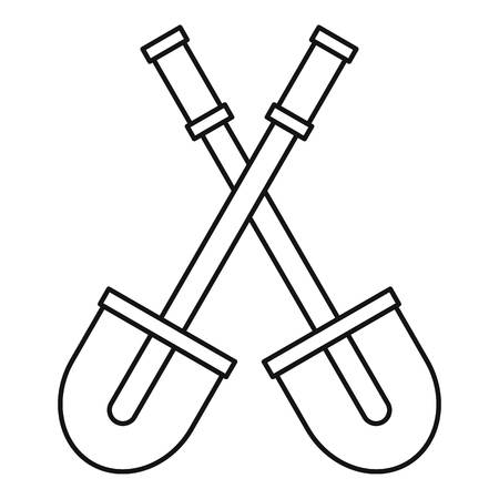sapper: Two shovels icon. Outline illustration of two shovels vector icon for web