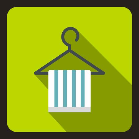 coat hanger: Striped scarf on coat hanger icon. Flat illustration of scarf on coat hanger vector icon for web Illustration