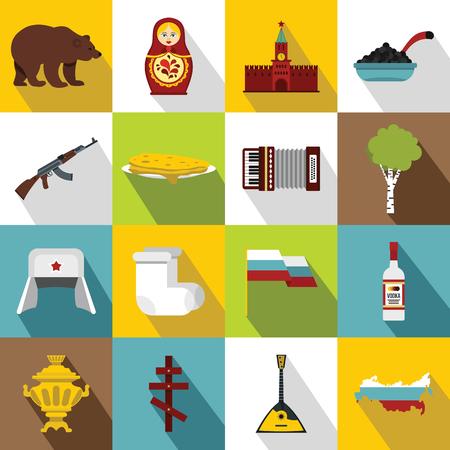 matreshka: Russia icons set. Flat illustration of 16 Russia vector icons for web Illustration