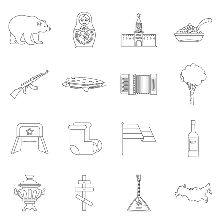 matreshka: Russia icons set. Outline illustration of 16 Russia vector icons for web