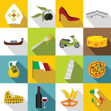 italia: Italia icons set. Flat illustration of 16 Italia vector icons for web