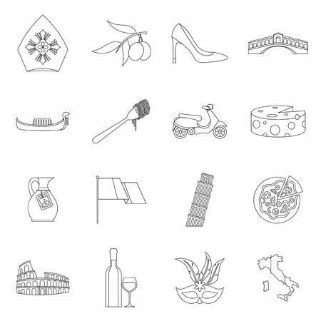 italia: Italia icons set. Outline illustration of 16 Italia vector icons for web