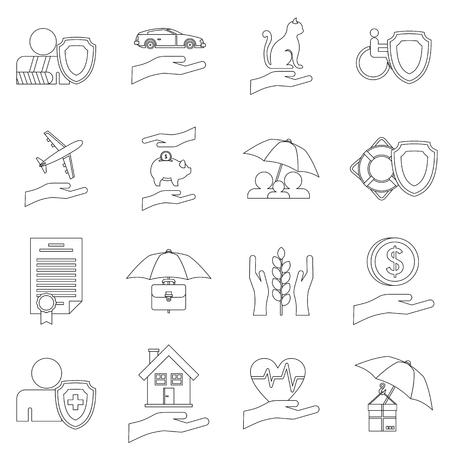 heart damage: Insurance icons set. Outline illustration of 16 insurance vector icons for web Illustration