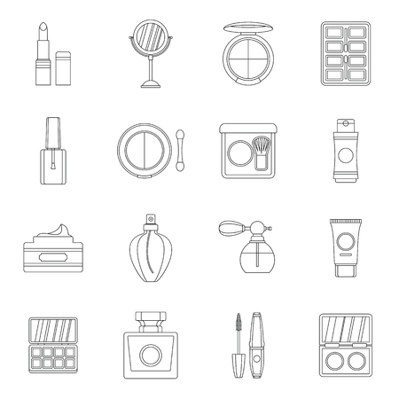 Cosmetics icons set. Outline illustration of 16 cosmetics vector icons for web Ilustração
