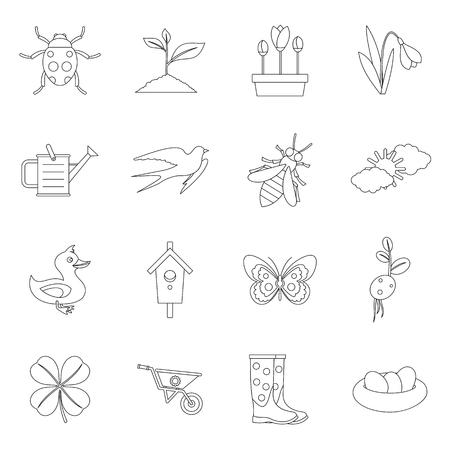 swift: Spring icons set. Outline illustration of 16 spring vector icons for web Illustration