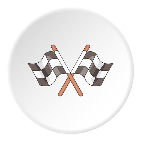 racing checkered flag crossed: Racing flag icon. Flat illustration of racing flag vector icon for web Illustration