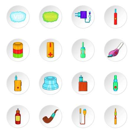 vaporize: Electronic cigarette icons set. Cartoon illustration of 16 electronic cigarette vector icons for web
