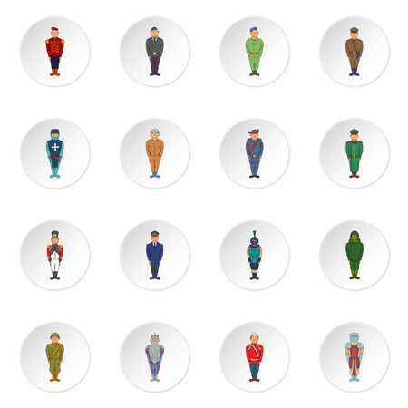 Soldiers in uniform icons set. Cartoon illustration of 16 soldiers in uniform vector icons for web