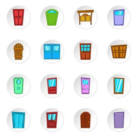 western style room: Door icons set. Cartoon illustration of 16 door vector icons for web