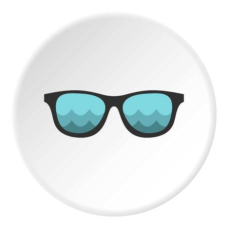 reflecting: Sunglasses with sea reflecting icon. Flat illustration of sunglasses vector icon for web design