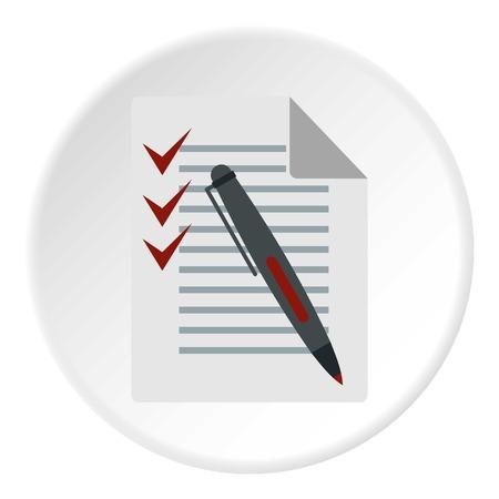 mark pen: Checklist and pen icon. Flat illustration of checklist vector icon for web design Illustration