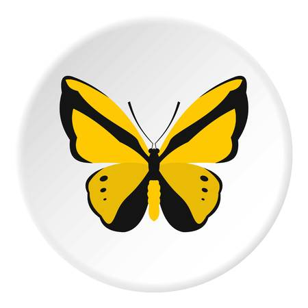 Yellow butterfly icon. Flat illustration of butterfly vector icon for web design Illustration