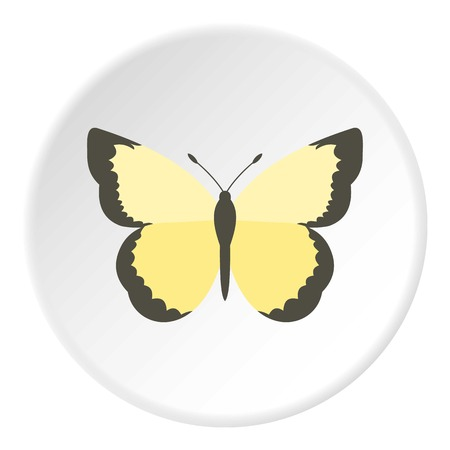 Light yellow butterfly icon. Flat illustration of butterfly vector icon for web design Illustration