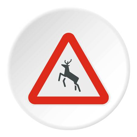Sign caution deer icon. Flat illustration of sign caution deer vector icon for web Illustration