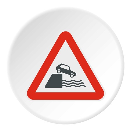 quay: Sign in front of cliff icon. Flat illustration of sign in front of cliff vector icon for web