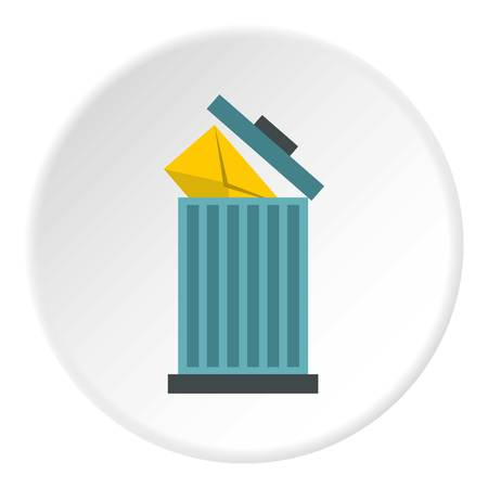 correspondence: Delete letter in basket icon. Flat illustration of delete letter in basket vector icon for web