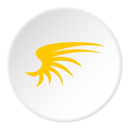 Yellow birds wing icon. Flat illustration of yellow birds wing vector icon for web