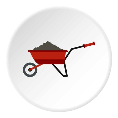 rubbish cart: Garden wheelbarrow with earth icon. Flat illustration of garden wheelbarrow with earth vector icon for web