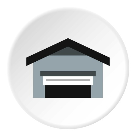 flat roof: Garage with roof icon. Flat illustration of garage with roof vector icon for web