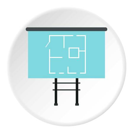 specify: Stand with house project icon. Flat illustration of stand with house project vector icon for web