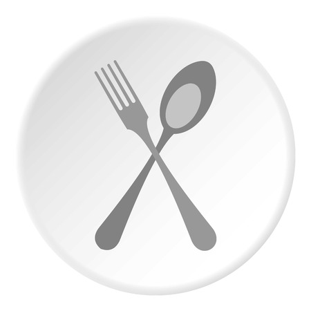 flatwares: Spoon and fork icon. Flat illustration of spoon and fork vector icon for web
