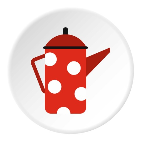 red metal: Red metal kettle with white polka dots icon. Flat illustration of red metal kettle with white polka dots vector icon for web Illustration