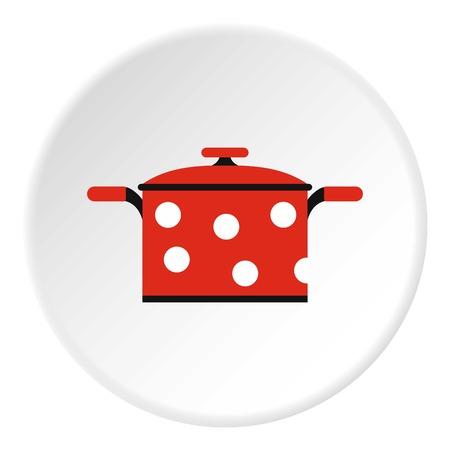 red polka dots: Crisol con el icono de los lunares rojos. Ilustración plana de la olla con lunares rojos de iconos de vectores para la web Vectores