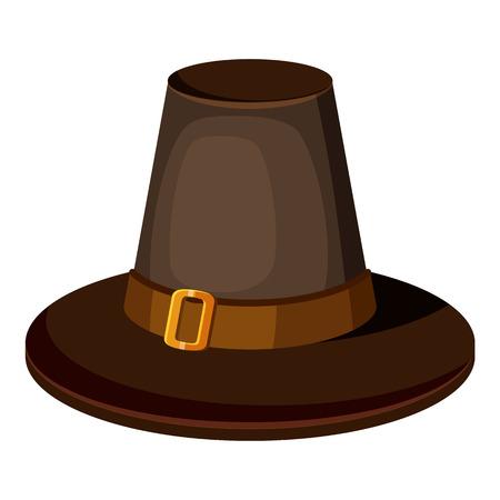 Brown hat icon. Cartoon illustration of brown hat vector icon for web Illustration