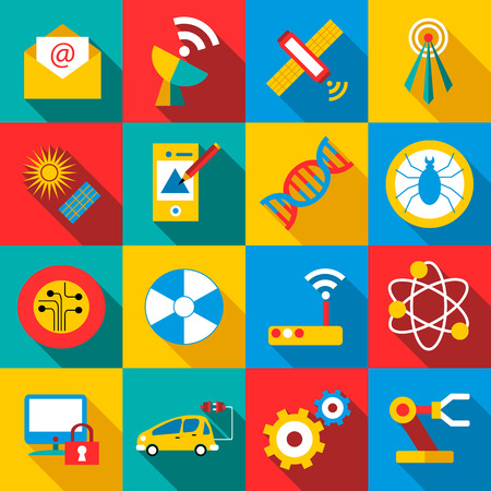 assembler: Future technologies icons set. Flat illustration of 16 future technologies vector icons for web