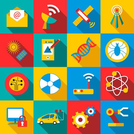 Future technologies icons set. Flat illustration of 16 future technologies vector icons for web