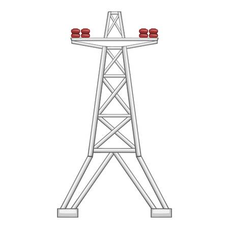 powerlines: Electric pole icon. Flat illustration of electric pole vector icon for web Illustration