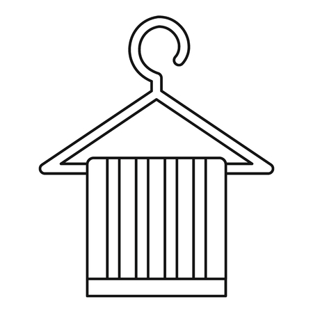 coat hanger: Striped scarf on a coat hanger icon. Outline illustration of scarf on a coat hanger vector icon for web