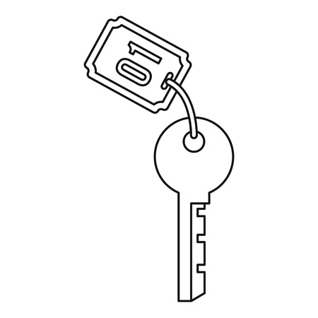 hotel room: Hotel room key icon. Outline illustration of hotel room key vector icon for web