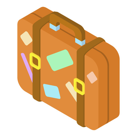 valise: Brown suitcase with stickers icon. Isometric 3d illustration of suitcase vector icon for web