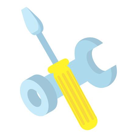 Icône des outils. Illustration 3d isométrique de tournevis et une icône de vecteur de clé pour le web