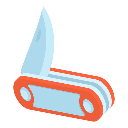 Red penknife icon. Isometric 3d illustration of penknife vector icon for web
