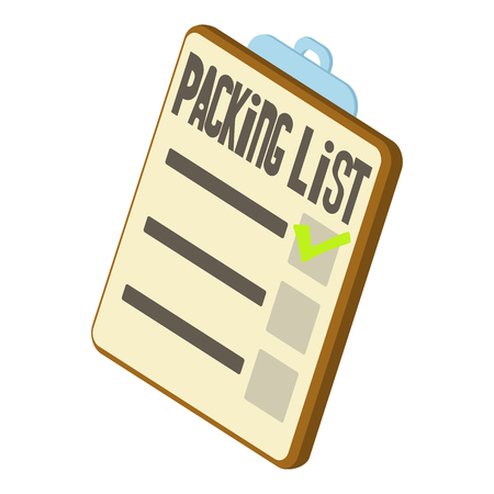 unpacking: Packing list icon. Isometric 3d illustration of packing list vector icon for web Illustration