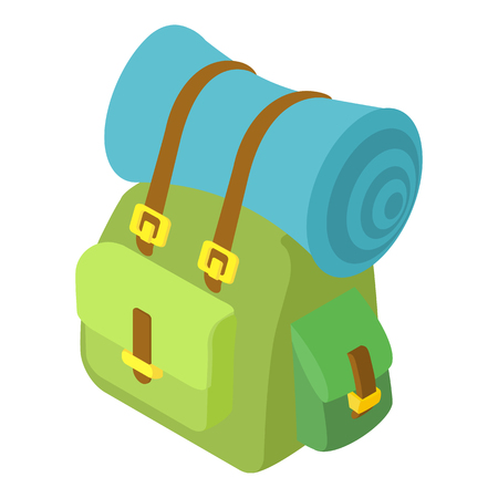 Backpack with mat icon. Isometric 3d illustration of backpack vector icon for web