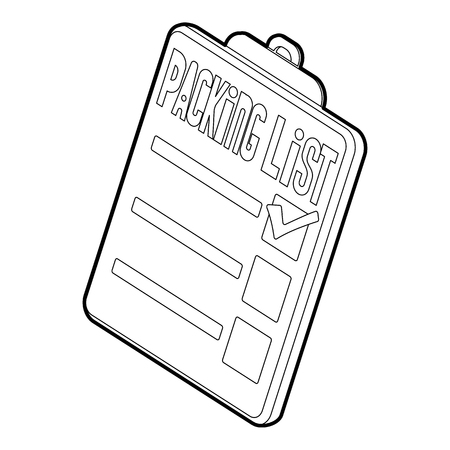 clothes organizer: Clipboard with packing list icon. Isometric 3d illustration of packing list vector icon for web