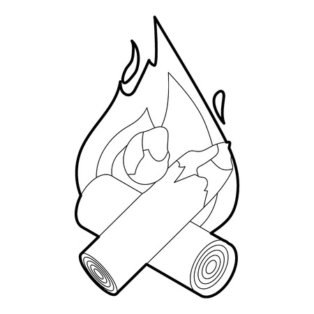 woodpile: Campfire icon. Isometric 3d illustration of campfire vector icon for web