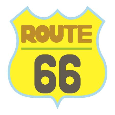 Yellow route 66 shield icon. Cartoon illustration of oute 66 shield vector icon for web Illustration