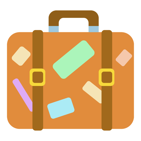 valise: Travel suitcase with stickers icon. Cartoon illustration of suitcase with stickers vector icon for web