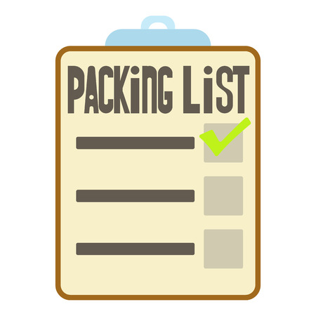 clothes organizer: Clipboard with packing list icon. Cartoon illustration of packing list vector icon for web Illustration