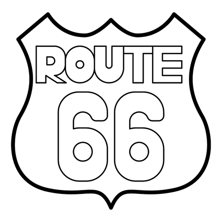 Route 66 shield icon. Outline illustration of route 66 shield vector icon for web