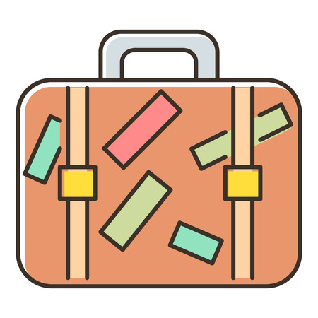 valise: Brown travel suitcase with stickers icon. Flat illustration of travel suitcase vector icon for web