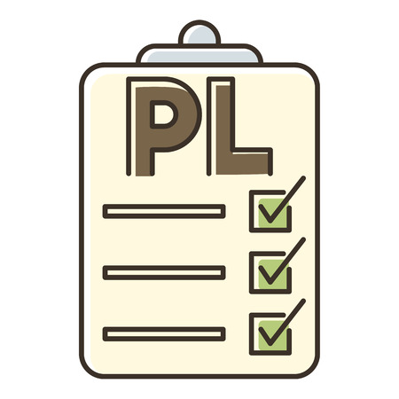 unpacking: Clipboard with PL icon. Flat illustration of clipboard with PL vector icon for web Illustration
