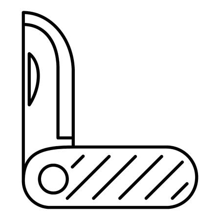 pocket knife: Pocket knife metal icon. Outline illustration of pocket knife metal vector icon for web
