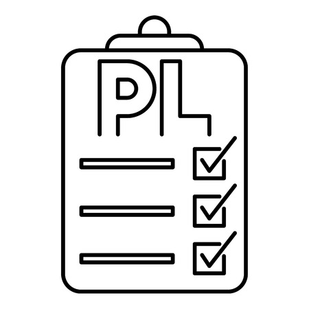 pl: Clipboard with PL icon. Outline illustration of packing list vector icon for web Illustration