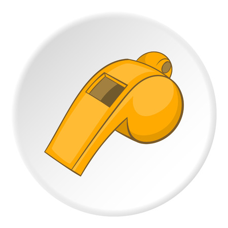 umpire: Yellow sport whistle icon. Cartoon illustration of yellow sport whistle vector icon for web