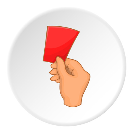 Referee showing red card icon. Cartoon illustration of red card vector icon for web Illustration